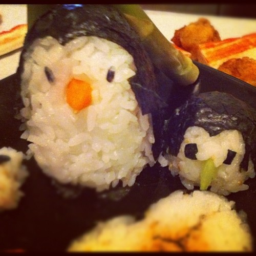 Penguin sushi for me!?! Damn, thanks guys! What skill!!! #sushi #penguin #animal #cute #food #japanese (Taken with instagram)