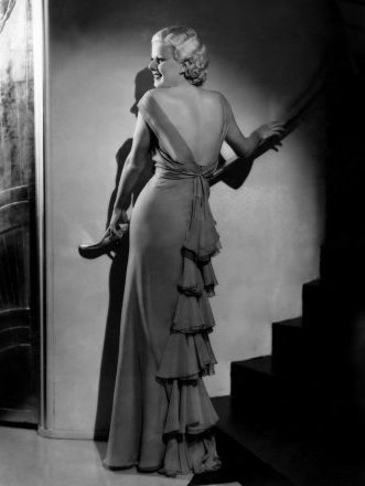 I love how Harlow's gown echoes the shadowed steps.  Brilliant!