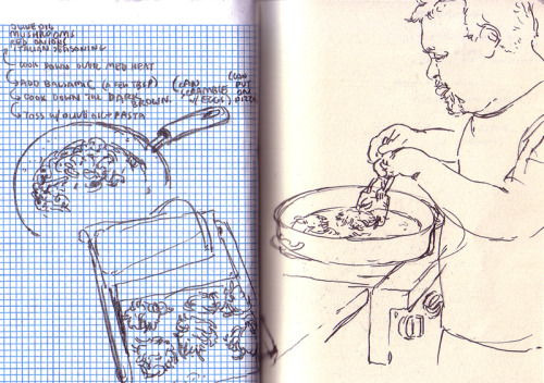 Sketch of my dad frying some latkes