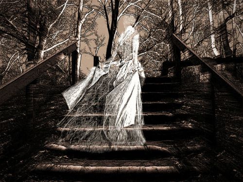 """She Moved Into The Unknown"" on Flickr.A ghostly female ascends a set of step to whatever lays beyond the veil between life and death."