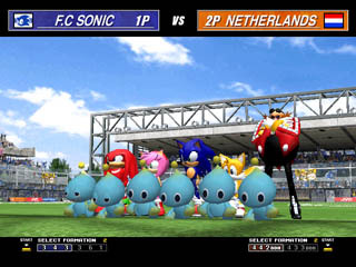 In Virtua Striker 3, there is a hidden, playable Sonic team with Yuji Naka as coach.