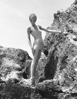 Dose of vintage: Anne St. Marie wearing a swimsuit for Saks, 1958. Photo by Tom Palumbo.