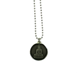 Buddha Necklace Black, 27% offThe black Buddha Necklace features a Buddha seated in the Varada Mudra pose of charity and compassion, dangling from an 18-inch, silver-plated brass chain. In Buddhist thought, the color black has the power to transform enmity into empathy. 10 percent of proceeds from this sale go to Do Something, an organization that enables young people to actualize their own personal vision of change in their communities.