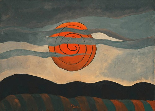 ymutate:  Arthur Dove,Red Sun, 1935 Oil on canvas 20 1/4 x 28 in The Phillips Collection, Washington D.C. , found at oseculoprodigioso.blogspot.com   This is the painting on the cover of Robert Hass' book of poetry, Sun Under Wood.
