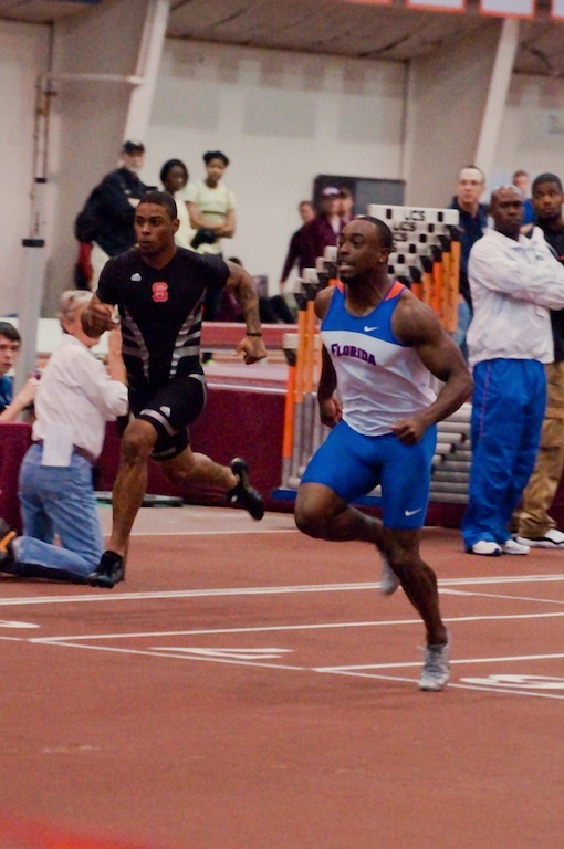 Jeff Demps of Florida is tied for 4th in the world at the 60m this indoor track season by clocking a 6.59 at the Virginia Tech Elite Meet at Blacksburg, VA this past weekend. (sorry — photo quality's not particularly good. Need to get a 2.8 lens!!) Follow me for more track and field action!