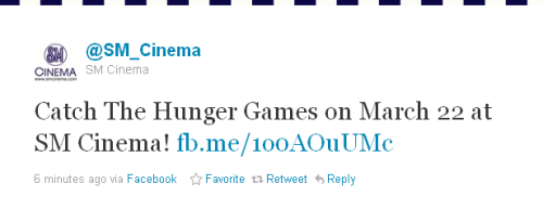 SM Cinema just announced that The Hunger Games will show in their cinemas on March 22! Last December, SM Cinema tweeted that The Hunger Games will be showing on Mar21, but that was not the definite day yet according to Pioneer, and they said it will either be 21 or 22. And with SM Cinema's latest tweet, it seems, the release date is now Mar22! Still, a day early! ;) Who will be watching on the first day? Thoughts?