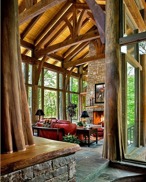 "georgianadesign:  ""Tree House"" family room near Nashville, TN. Norris Architecture."