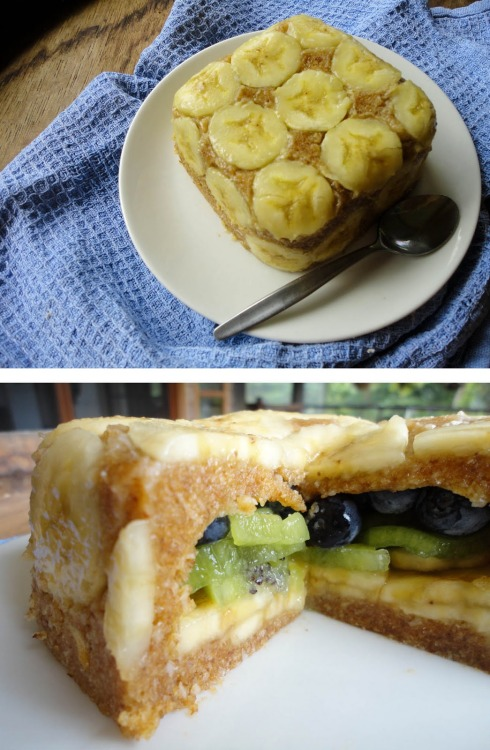 yummyrawfood:    Upside-Down Cake serves 4 persons, for 10x10 cm cakeIngredients8 dates1/2 cup shredded coconutFruit - bananas, kiwis, blueberries or any other fruit you desire.InstructionsIn a food processor mix dates and shredded coconut together until you get sticky pastry. Take a small bowl or plastic/glass container and lay down one layer of banana slices with covering the sides as well. Take about 2/3 of date-coconut mixture and press on top of that. Now start layering the fruit inside - blueberries, kiwis, bananas or any other fruit. Now cover all of it with remaining 1/3 of date-coconut mixture. Place in the fridge for few hours or overnight. When taking out of the container carefully loosen the edges with a knife and turn the cake upside down on the plate.For step-by-step instructions look here.