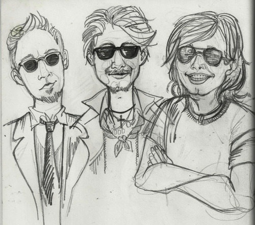 Gritty sketchbook drawins of brothers and their sunglasses