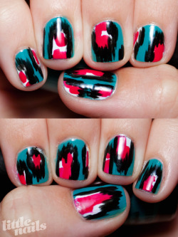 little-nails:  Ikat nails created by following Mr.Candiipants's tutorial
