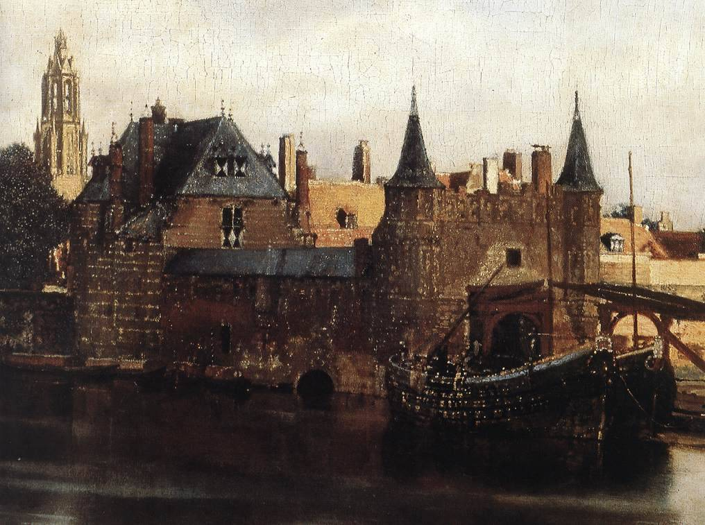 Johannes Vermeer View of Delft (detail)  1659 - 1660   Mauritshuis, The Hague, Netherlands Painting, Oil on canvas          http://upload.wikimedia.org/wikipedia/commons/a/a2/Vermeer-view-of-delft.jpg