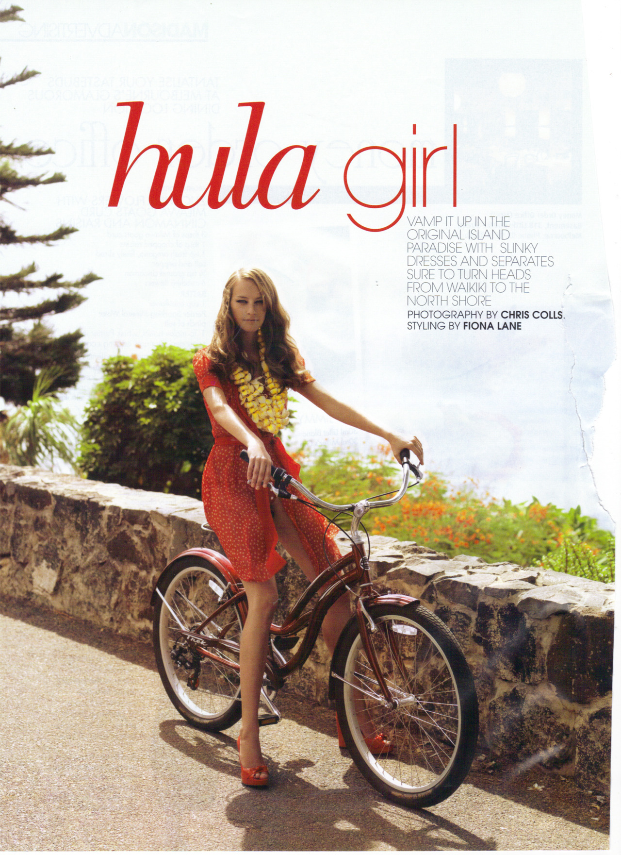 keelymalady:  places i'd rather be 'hula girl'photography by chris colls | styling by fiona lanemadison magazine, unsure exact date  This looks like Diamond Head Road of the Oahu's Gold Coast, between Waikiki and Sandy Beach. Anybody can be a Hula girl at anytime and anywhere in Hawaii.