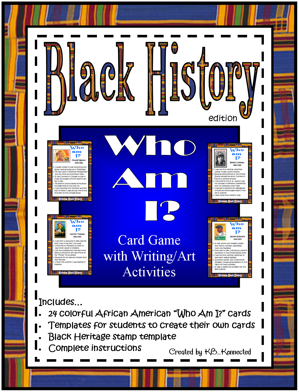 "Terrific resource for Black History Month that can be used all month long! Plus two FREEBIES! #elemchat #spedchat #sschat #blackhistory Every year I am on the lookout for activities to help celebrate Black History Month in the classroom. This year I decided to create my own and I want to share them with you. I created 24 ""Who Am I?"" cards featuring African Americans, 11 women and 13 men, that can be played as a game or just enjoyed as fact cards. The cards are bright and attractive and include an African kente cloth border, image of each individual and 5 interesting facts.  The game can be played by 2 or more players. Students are given clues and the sooner they guess correctly the more points they earn. The game can be played daily, starting with a few cards and adding more as you go along. Soon you will be able to play with all the cards and students will be answering quickly.I also added a template (2 sizes, color/b/w) so students can create their own ""Who Am I?"" card. Once they have chosen their subject they will need to add facts to their card. It's not numbered so you can choose how many they add. You can add these to the game or even a bulletin board. Or if you prefer they could write a mini-bio of the African American they chose. The template is perfect for either.…and because I used U.S.postage stamps for this packet I also included a template for students to create their own Black Heritage stamp. The U.S. post office allows stamps to be used freely for educational purposes.Laminate the ""Who Am I?"" cards and your students will enjoy them for years to come! Includes24 colorful African American ""Who Am I?"" cards (3 1/2 x 5)Templates for students to create their own cards(color and b/w) aprox. 5x7 and 7x9Black Heritage stamp templateComplete instructions Below are two of the 24 cards    Below are two freebies from my ""Who Am I?""…Black History Edition. Students will enjoy creating their own Black Heritage stamps just like the U.S. Post Office. Hope that you can use them. :-)      Hope you stop by my TpT store and check them out."