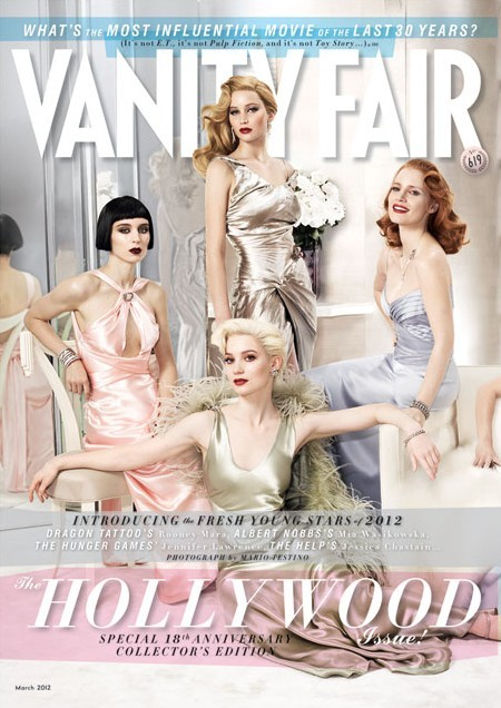 I HAD to jump on here before bed and post the new March 2012 cover of Vanity Fair, because…because LOOK! Rooney Mara and Jennifer Lawrence RIGHT NEXT TO EACH OTHER AND STUFF.  OK, I realize my excitement may be somewhat confusing since I've never actually posted about anything related to Rooney or The Girl with the Dragon Tattoo, but that's only because I didn't get into it until after it was news. I read the books, TGdO over the trailers, and saw the film, but well after all the hype. After that, nothing really came up that was newsworthy and TGO-worthy (with the possible exception of my discovery of this magazine cover, which made me clap because Lisbeth loves pizza in the books), until now! Yes, I did just imply that sitting near Jennifer made Rooney newsworthy. But you know, it is pretty groovy that two of my favorite TGO ladies are on the same cover! Even if I've only blogged about one of them! Just nod and accept my logic!  Speaking of Jen, I wonder if she looked at Mia Wasikowska and thought, if only for a split second, Hey, we've both totally made out with Michael Fassbender. Maybe I'm getting a little carried away. New topic. I know! If you haven't seen the new Hunger Games trailer, here it is! Yay! See the full Vanity Fair three-page cover spread here.