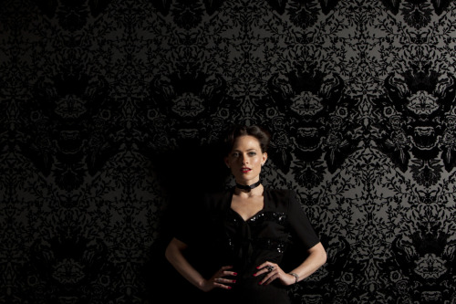 Lara Pulver as Irene Adler (and some really gorgeous wallpaper), Sherlock, BBC2