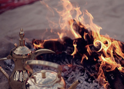 arabstyle:  Tea made on coal fire is so much more amazing than the tea made on stove.  Signed.  Arab dude.