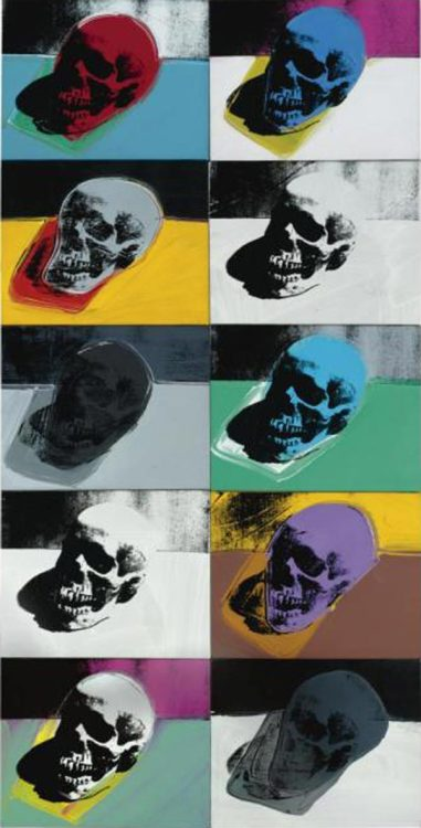 """Skulls"", acrylic and silkscreen ink on canvas (1976) by Andy Warhol from alaintruong.com via 2headedsnake"
