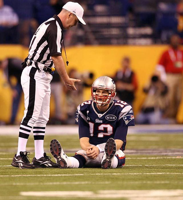 Tom Brady sits on the Lucas Oil Stadium field during last night's Super Bowl. Despite throwing for 276 yards and two touchdowns, Brady couldn't hold onto a fourth quarter lead as the Giants prevailed 21-17. (Simon Bruty/SI) BURKE: Welker, Patriots lament lost opportunitiesVIDEO: Reaction from Brady | Manningham's momentPOSNANSKI: Eli leads Giants to another Super victory