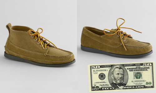 For $50 You Can Buy … LL Bean Signature discounted their suede Eastport moc toe shoes. The Ranger moc can be had for $40 and blucher moc for $35. Personally, I like the regular leather versions of each a bit more, but $35-40 is a great price for a casual pair of shoes. I think they would work particularly well with a pair of dark jeans in the fall.