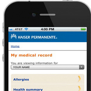 Kaiser Permanente Patients Can Now View Their Records on Mobile Devices | MakeUseOf Last week, Kaiser Permanente released a new app for Android and iPhone devices that will allow its patients to access their own medication information and records through a mobile-optimized website. Kaiser has the largest electronic medical record system in the world, with 9 million Kaiser Permanente patients.