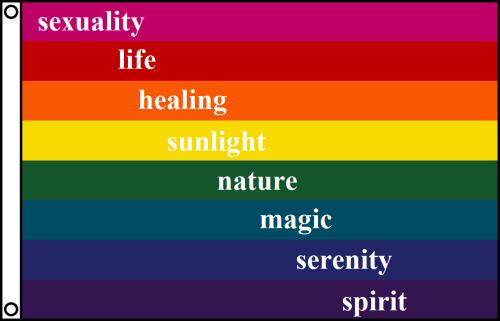 LGBTQ* Slogan and Flag History The Rainbow/Pride Flag is credited as being created by Gilbert Baker in 1978. The flag debuted at the San Francisco Gay and Lesbian Freedom Day Parade of the same year.  The original flag had eight stripes: pink (sexuality) — red (life) —orange (healing) — yellow (sunlight) — green (nature) — turquoise (magic) — indigo/blue (serenity) — violet (spirit) Pink and turquoise have since been dropped.