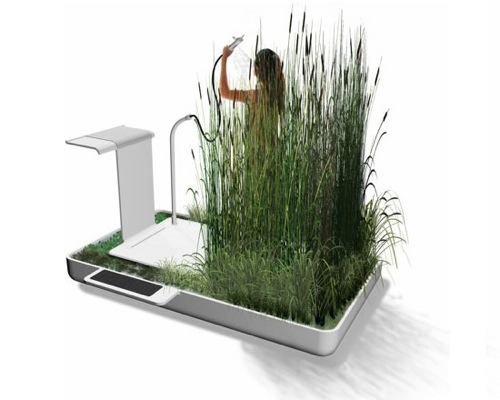 mothernaturenetwork:  A living ecosystem in your johnShower amongst reeds, rushes and water hyacinths while recycling water in Jun Yasumoto's 'Phyto Purification Bathroom.'   interior design week