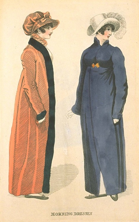 Fashions of London and Paris, Morning Dresses, March 1811. Don't they look cozy on a brisk morning?