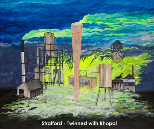 'Stratford - Twinned With Bhopal'.  Yes, it's, er 'official'. The Olympic Park in Stratford, East London, has now been twinned with Bhopal.  Painting by activist artist Ziggy Norton    http://www.facebook.com/photo.php?fbid=2789137406102&set=a.1024390408530.2005204.1188353408&type=1&theater
