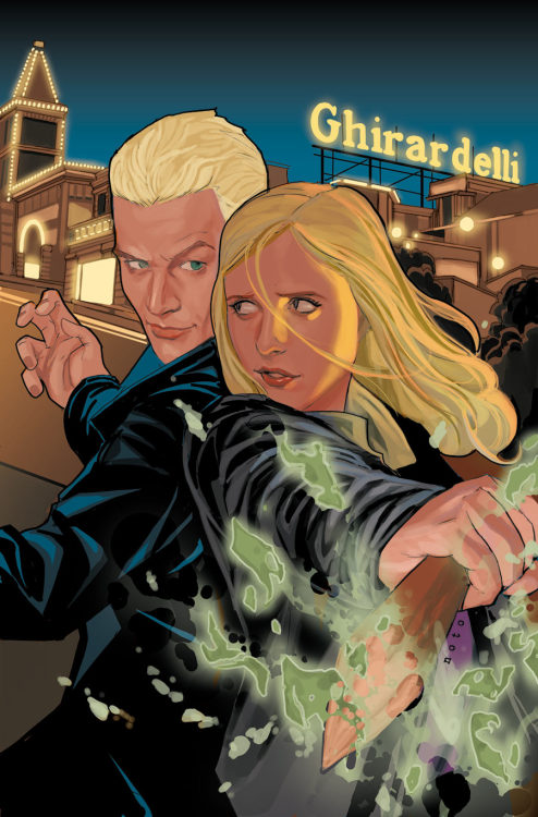 Market Monday Buffy the Vampire Slayer Season Nine #6, colored by Michelle Madsen  The uptick in the zompire population has the SFPD on Buffy's trail again-but this time, they need her assistance. However, Detective Dowling must settle for a little help from the bleached-blond vampire Spike, as Buffy has become distracted by a rather personal problem that will lead her to Robin Wood  ~Preview~