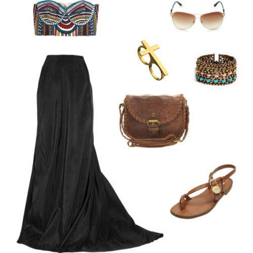 Boho Chic by madeline-ward featuring saddle bagsMara Hoffman bustier top, $207Lanvin gathered skirt, £948Mulberry embellished flat sandals, $270ASOS saddle bag, $18Dannijo braided jewelry, $320Beyond Rings cross jewelry, $45Juicy Couture summer sunglasses, $98