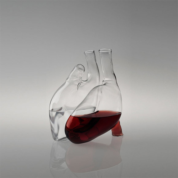 "salveo:  This Human Heart Carafe, called Cuore, designed by Liviana Osti.""Two glass carafes shaping a human heart when joined together. The heart is a reminder for the generally underestimated but essential role health plays in our lives."