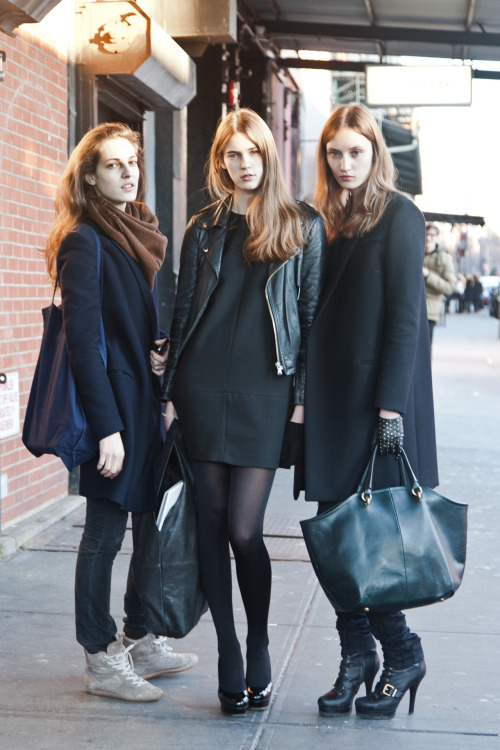 SILENT MODELS - L to R: Othilia Simon, Colinne Michaelis, Alex Yuryeva Click here to see Silent's show package via models.com! I caught Othilia and Colinne a few months ago on Broadway! Click here to see. I've seen them a lot together. Seems like they are good friends and Silent is a nice boutique agency with a very French chic look. My acquaintance Wataru/Bob at An Unknown Quantity actually caught Yureva the other day in Soho so you can see some of what she is wearing here.