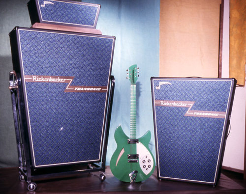 Rickenbacker A fantastically rare—and perhaps one-of-a-kind—all-turquoise 330 stands alongside a set of mighty and super-stylish Transonic amplifiers. The solid-state Transonic line never achieved widespread success, but it remains forever associated with Jimmy Page and the fi rst Led Zep tour in 1969. With built-in reverb, tremolo, and fuzz, Transonics actually sound amazing—and they stand toe to toe with Voxes of the same era as some the coolest and most contraption-laden amps of the period.