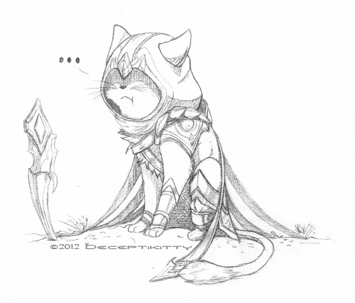 "Kitty!Talon is not impressed with your killstealing, tanky Cho'Gath, nor is he with the sudden minion focus fire. Talon: ""Fuck this shit."" *throws blade away* Anyway…wtf is rong with me?! Srsly started doodling a kitten yesterday night and it ended like this today…I don't even…Anyway..inspired by yesterdays game, where my tank build chogath friend was killstealing me the whole time….fcken whole game…I don't even know how ._. Also…everytime…EVERY FOCKEN TIME I was 10-50 hp, the minions suddenly focus fired me ._. those little f- *gets shot*"