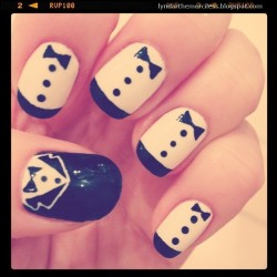 Tuxedo nails inspired by Zooey Deschanel