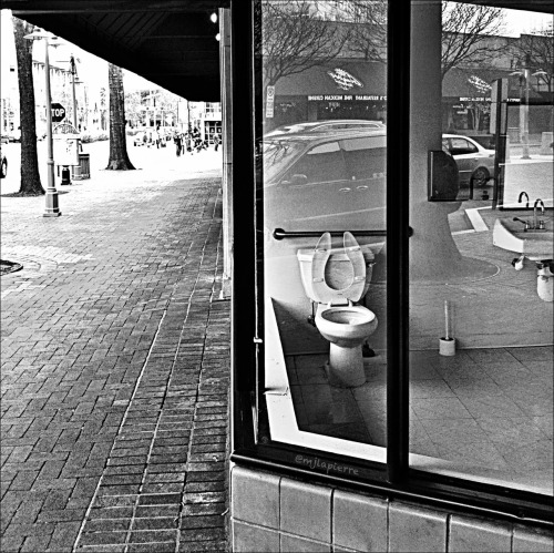 """Nothing stops you in your tracks quite like a storefront's working bathroom. Makes me wonder…is it a social experiment? A new game show, """"How bad do you really have to go?"""" Or did we just stumble upon this sight in the midst of a bathroom remodel? Stay tuned. lifeinstilled:  February 4: So much for Privacy…"""