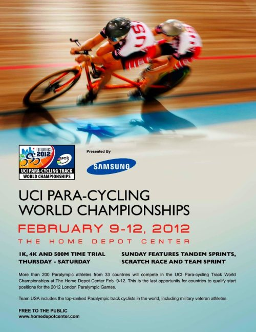 PARA-CYCLING WORLDS THIS WEEK IN L.A.   The Home Depot Center Velodrome and the City of Los Angeles are proud and honored to host the UCI Para-Cycling World Championships this week.  A world-class event like this doesn't come to town too often so, come check out the world's strongest paracyclists race for those Champion Stripes.  Pursuits, Kilo's and 500m TT's will be on Thursday through Saturday.  Tandem Sprints will be on Sunday (definitely don't miss that!).  Check out the full schedule on the official Para-Cycling World Champs website.