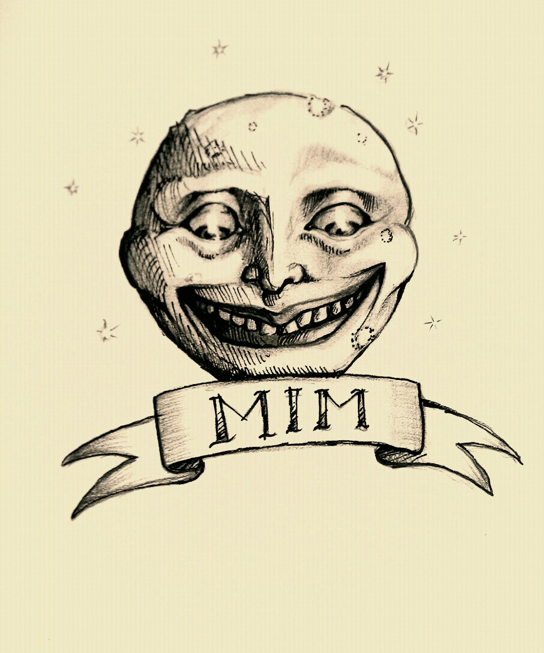 Sketching up ideas for my tattoo. Not sure if I like the banner…but my moon finally found his face :)