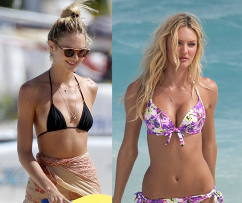 suckkitin:  Last week, we all admired VS beauty Candice Swanepoel in various bikiniswhile shooting for the famous brand. Today, the blonde beauty is back in a two-piece, but this time, she's not working, just enjoying the beach. Many visitors who requested this post pointed out that Candice's bust looks noticeably smaller in this batch of pictures compared to the ones where she's shooting for the Victoria's Secret catalog. On a related note, Candice's colleague Rosie mentioned a while ago that she (and probably other VS girls too) wears 2, or 3 pairs of chicken fillets plus padding when posing for the brand in bikinis and lingerie in order to look curvier.  I really do not understand why she is a lingerie model. Not to sound like a bitch, but shouldn't someone who actually has tits and an ass be modeling lingerie?    Seriously. Okay. I feel so much better about my body now. I figured they were fake or stuffed, but hearing it said by the models themselves and seeing what they really look like makes me feel so so much better about ME.