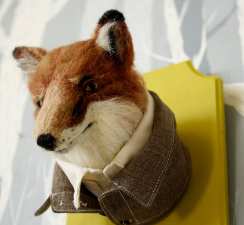 boyswithbanjos:  Fantastic Mr. Fox-channeling felt taxidermy this way!
