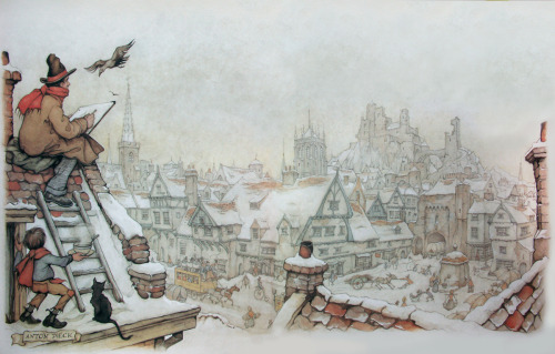 The Dutch artist Anton Pieck has a vast body of work and his distinctive style is very well respected. Aside from his many prints (some of which are displayed here) he was responsible for designing an entire fairy tale theme park in Kaatsheuvel in the Southern part of the Netherlands. | See More