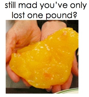 "This is so true. In retrospect, a pound is a lot more than many people give themselves credit for. Every ounce counts. Whenever someone says ""I only lost a pound"", I like to remind them of just how MUCH a pound actually is and tell them to picture a pound of butter to imagine just how significant a pound is!"