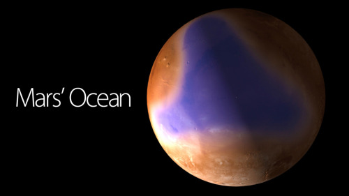 "physicsphysics:  The First Look at Mars' Ocean    We knew there was water in abundance on Mars, but we never saw its ocean. This is it, as uncovered by strong new evidence found over the course of two years by the MARSIS radar on board ESA's Mars Express. Before this discovery, scientists suspected what could have been the shorelines of such ocean. However, this is the first time that this Mars' ocean has been shown in all its magnitude. According to ESA, Mars Express ""has detected sediments reminiscent of an ocean floor within the boundaries of previously identified, ancient shorelines on Mars."" The sediments are low-density granular material that have been eroded away by water. They have low radar reflectivity, and were detected through all the ocean's area, 60 to 80 meters (197 to 262 feet) under the surface of the Red Planet. According to Jérémie Mouginot, from the Institut de Planétologie et d'Astrophysique de Grenoble (IPAG) and the University of California, Irvine, the sedimentary deposit they have discovered may be ice-rich. They are ""a strong new indication that there was once an ocean here."" Scientists now believe that there were two oceans on Mars. The first was there four billion years ago, when the weather was warm. The second one was formed three billion years ago, ""when subsurface ice melted following a large impact, creating outflow channels that drained the water into areas of low elevation."" The team believes that this ocean didn't exist long enough to serve as a environment to life formation. According to ESA's Mars Express Project Scientist Olivier Witasse, there's little doubt now that there were oceans there now. But the biggest question of them all remains a mystery: ""Where did all the water go?""  via Gizmodo  Coooooooool"