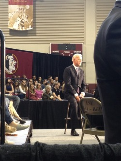 Vice President Joe Biden came to speak on campus today. Not only did he congratulate us on our win against Virginia, but he also told us we have killer recruitment class. ;)