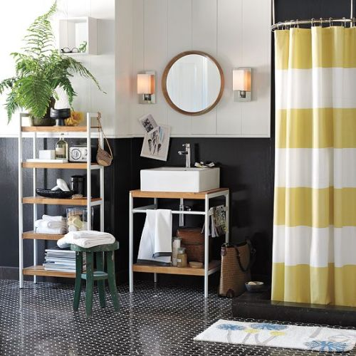 interiordecline:  oooh love this shower curtain and color scheme