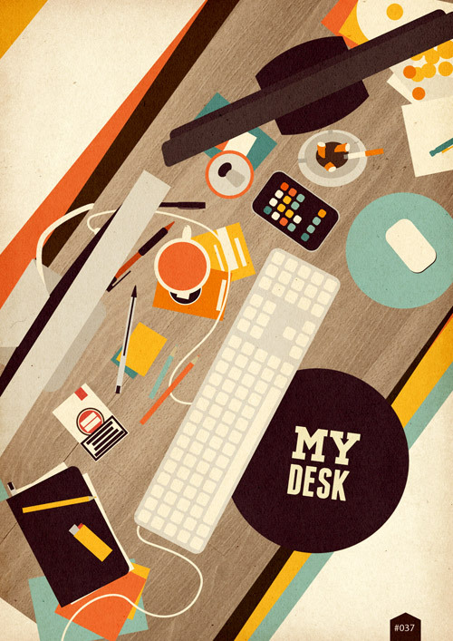 366coolthings:  #037 - My desk  I fervently wanted to reblog this design with an enthusiastic OMG ME TOO. And then I noticed the cigarettes :( and they made me sad.