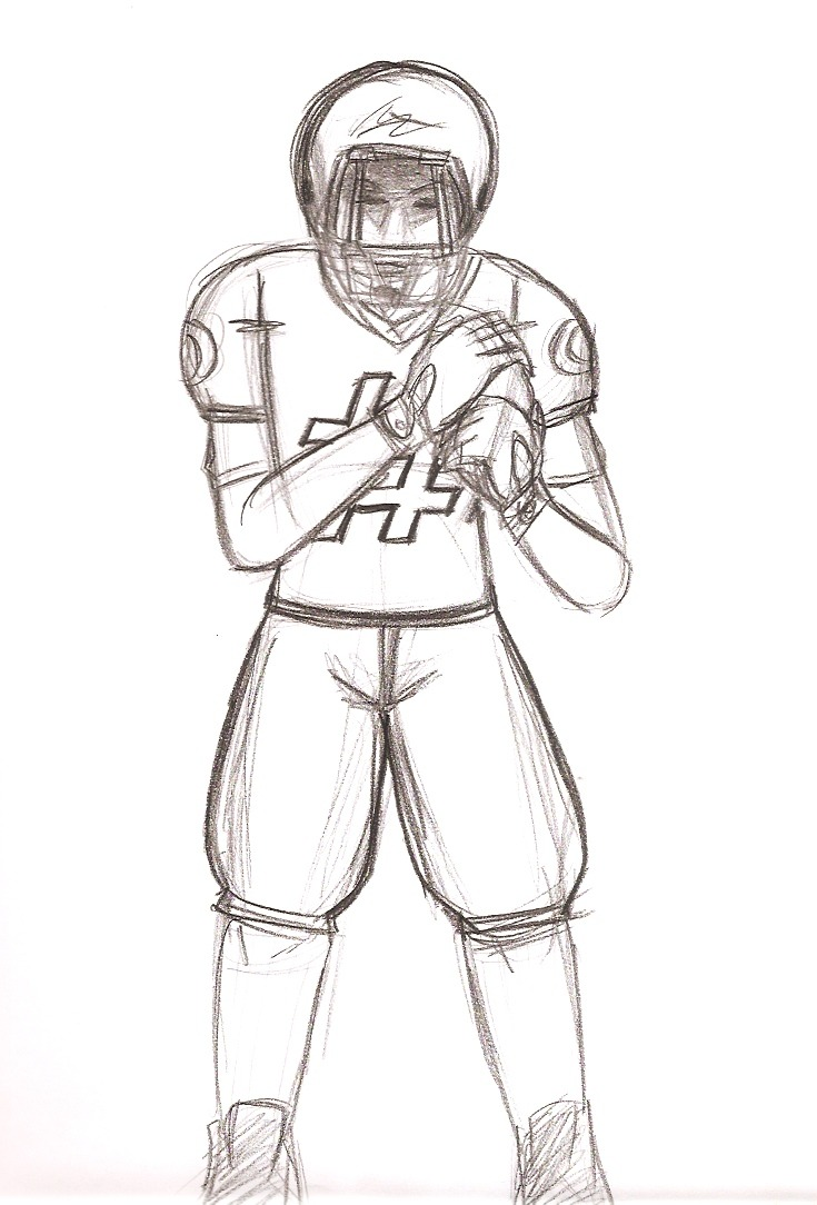 Some practice drawing things I usually don't draw. Football player seemed like a good idea since lots of news about who won the Super Bowl and what not gave me a chance to refer to people with this build and clothes without looking too hard for reference. Not based on any picture or specific player, I just used super bowl video footage for proportion reference.