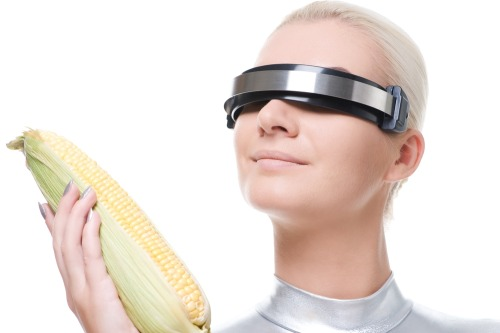 Cyber lady with a corn