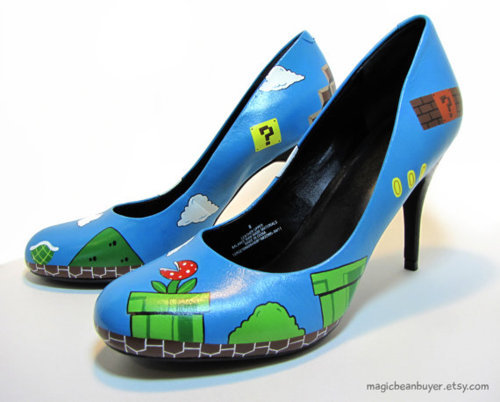 iheartchaos:  Geeky fashion of the day: Super Mario fuck me pumps For $135, made by MagicBeanBuyer on Etsy Via