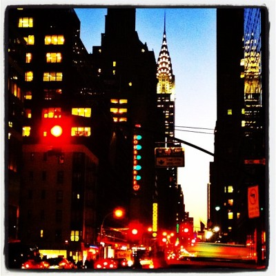 Chrysler Building at Sunset #lights #city #nyc #skyscraper #skyline #sunset (Taken with instagram)